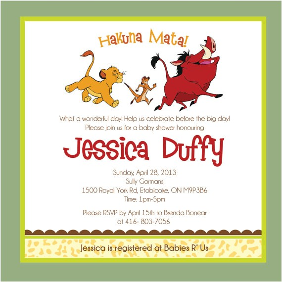 lion king baby shower invitations template