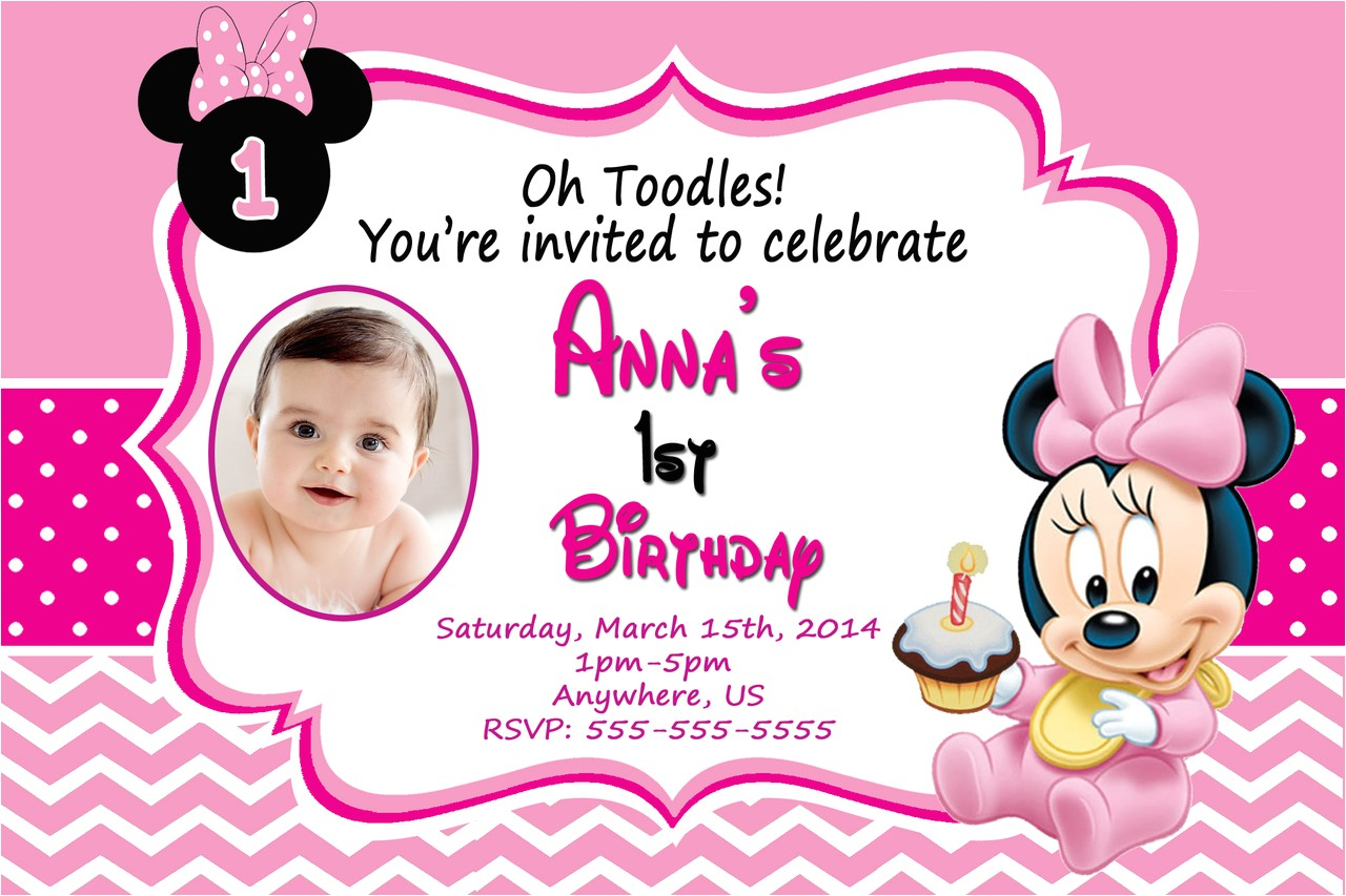 baby minnie mouse 1st birthday invitations