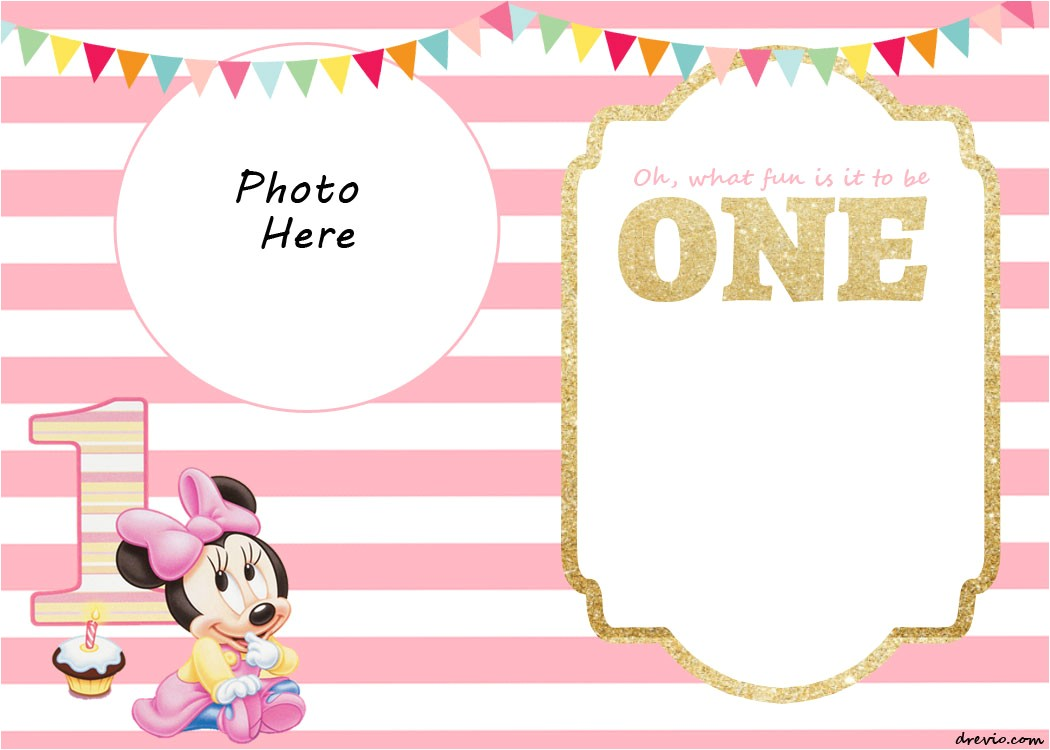 minnie mouse 1st invitation templates