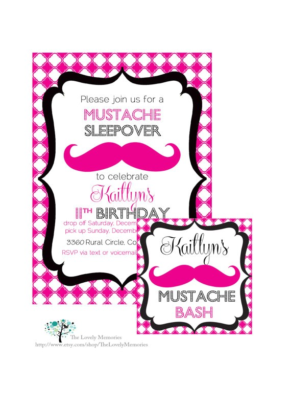 mustache sleepover birthday bash printable party