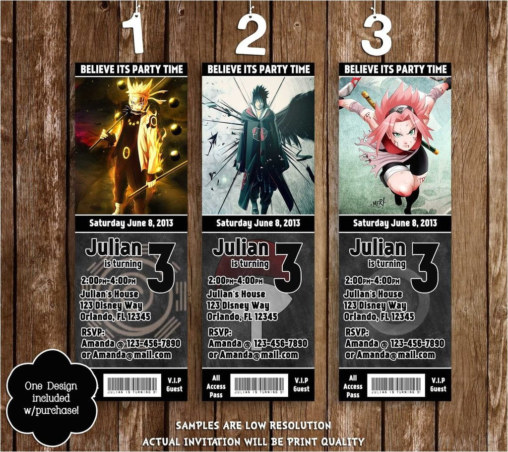 naruto anime birthday party ticket invitations