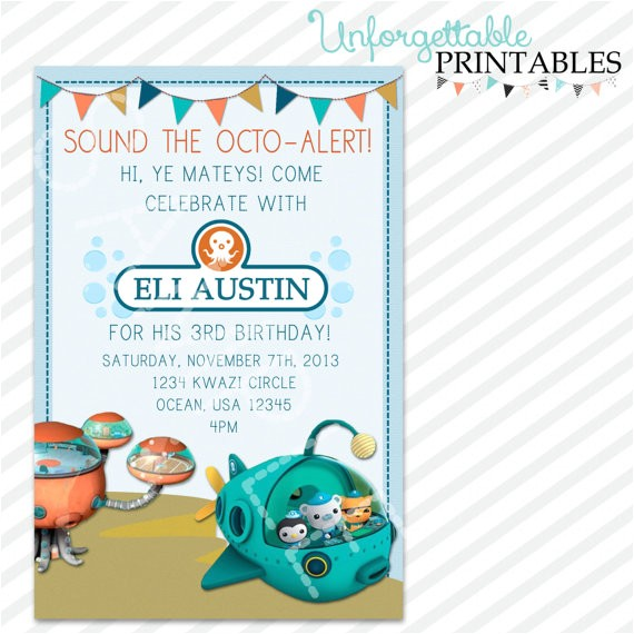 octonauts birthday invite invitation