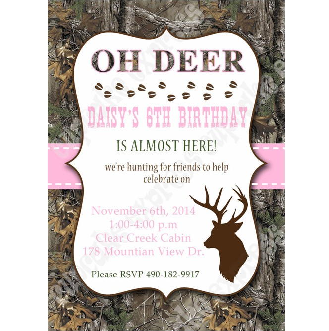 Camo girl lt pink Printable invitation hunting realtree DIY