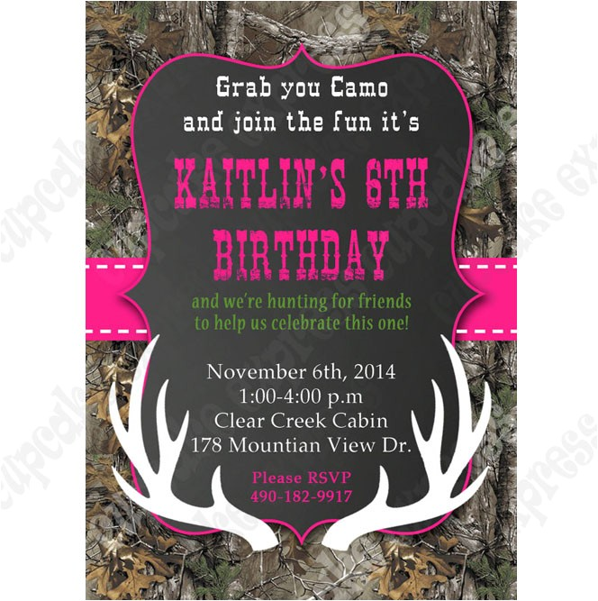Printable Pink Camo Birthday Invitations Camo Girl Printable Invitation Hunting Realtree Diy
