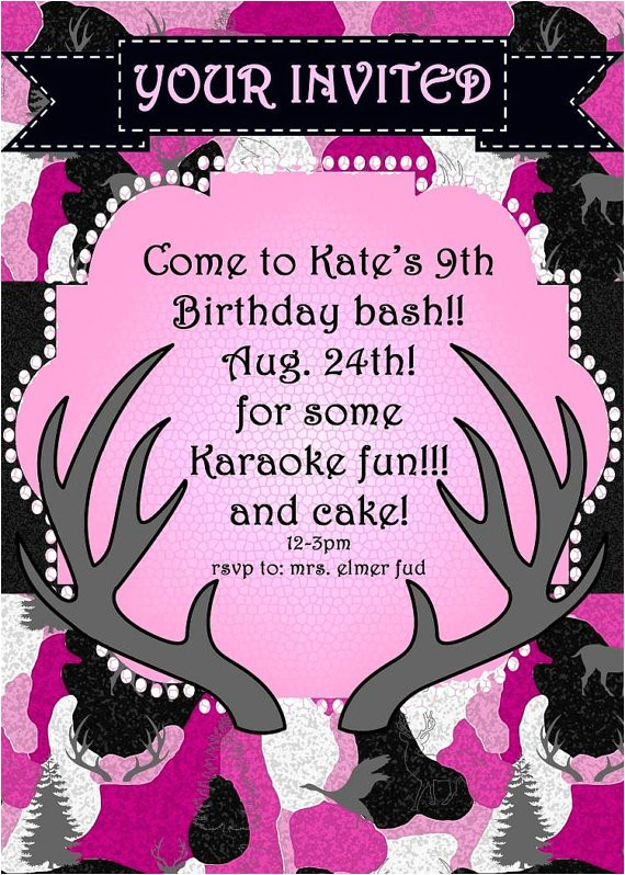pink camo birthday party invitation jpeg
