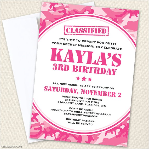 pink camo army party invitations professionally