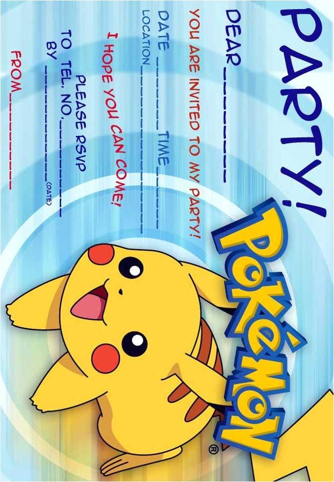 pokemon free party invitations