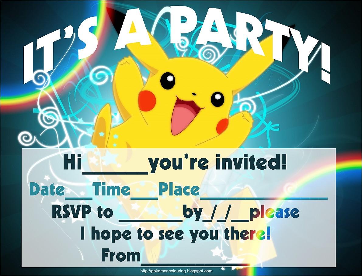 free printable pokemon pikachu party