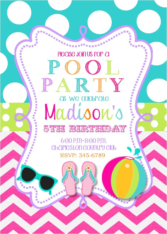 pool party birthday party invitations