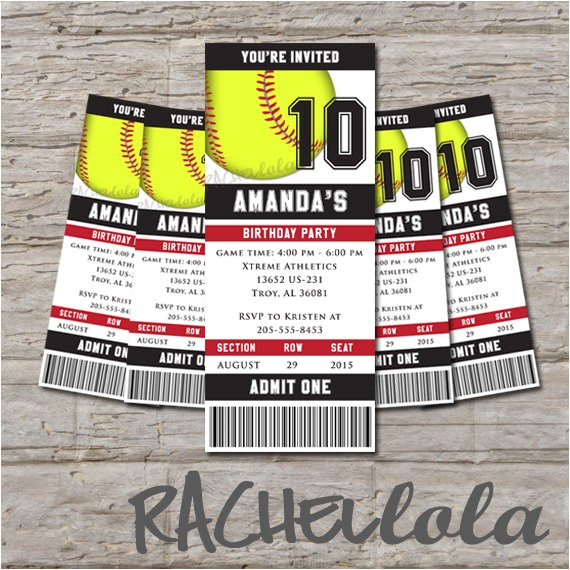 softball ticket birthday invitation printable diy