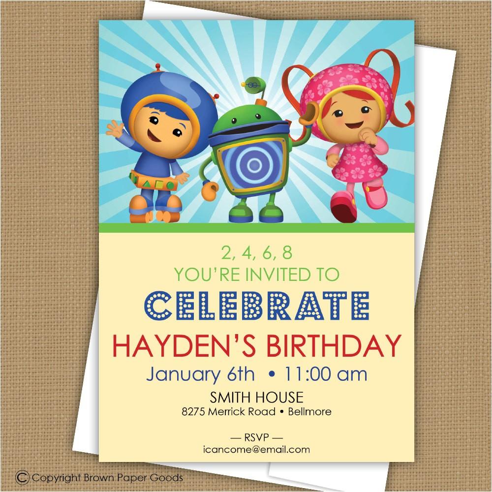 team umizoomi birthday invitation