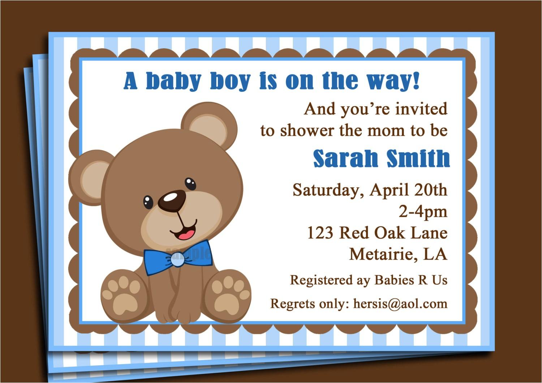 blue teddy bear invitation printable or