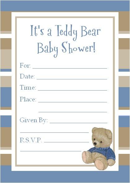 teddy bear baby shower invitations