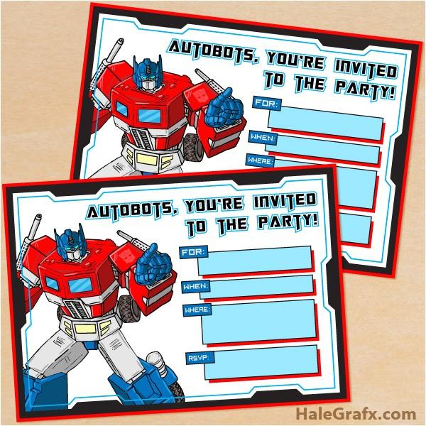 Printable Transformer Birthday Invitations Free Printable G1 Transformers Birthday Invitation