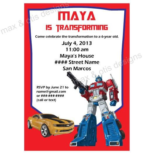 transformers theme printable invitation