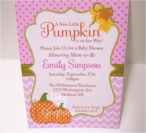 pumpkin baby shower invitation fall baby