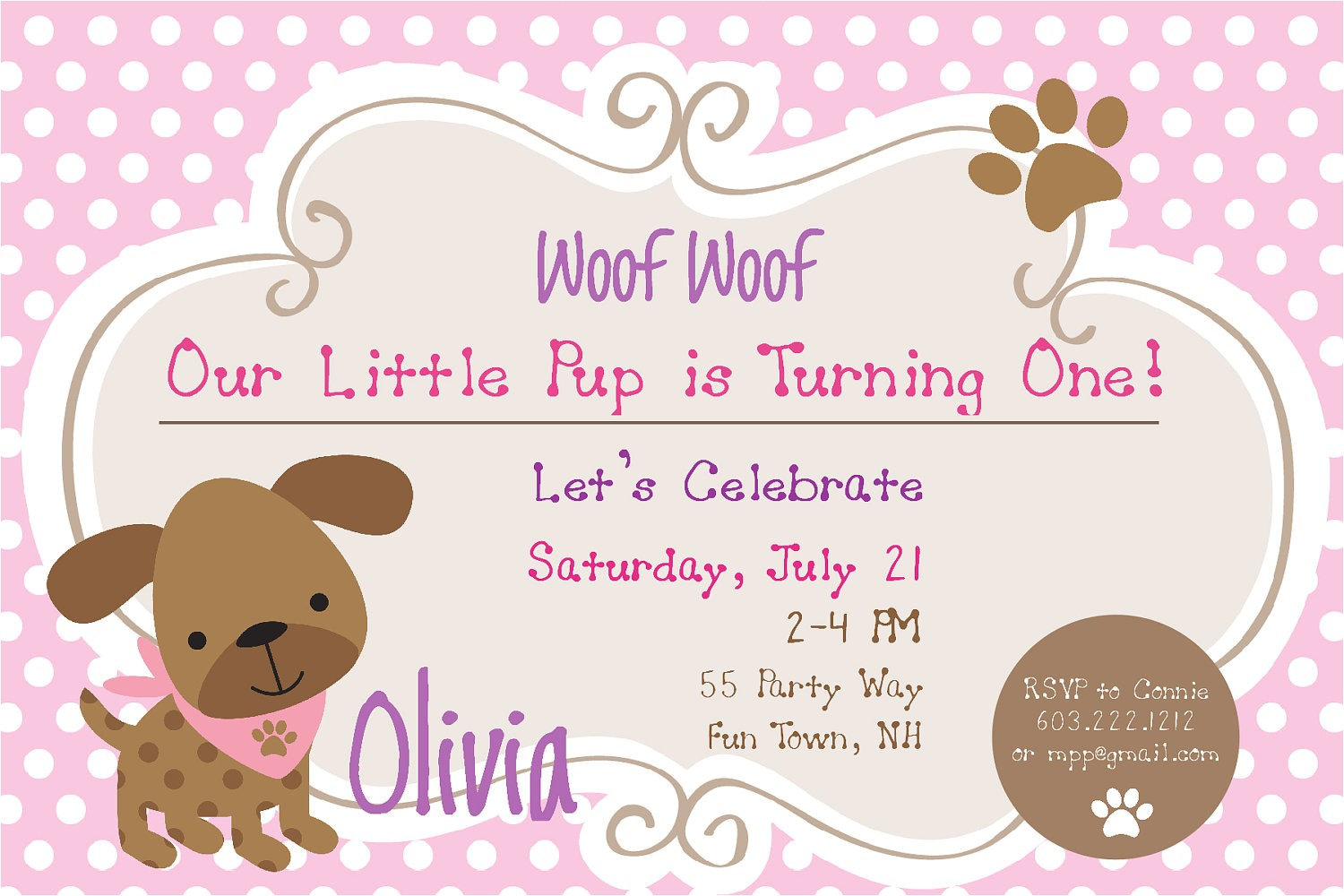 puppy dog birthday party invitation