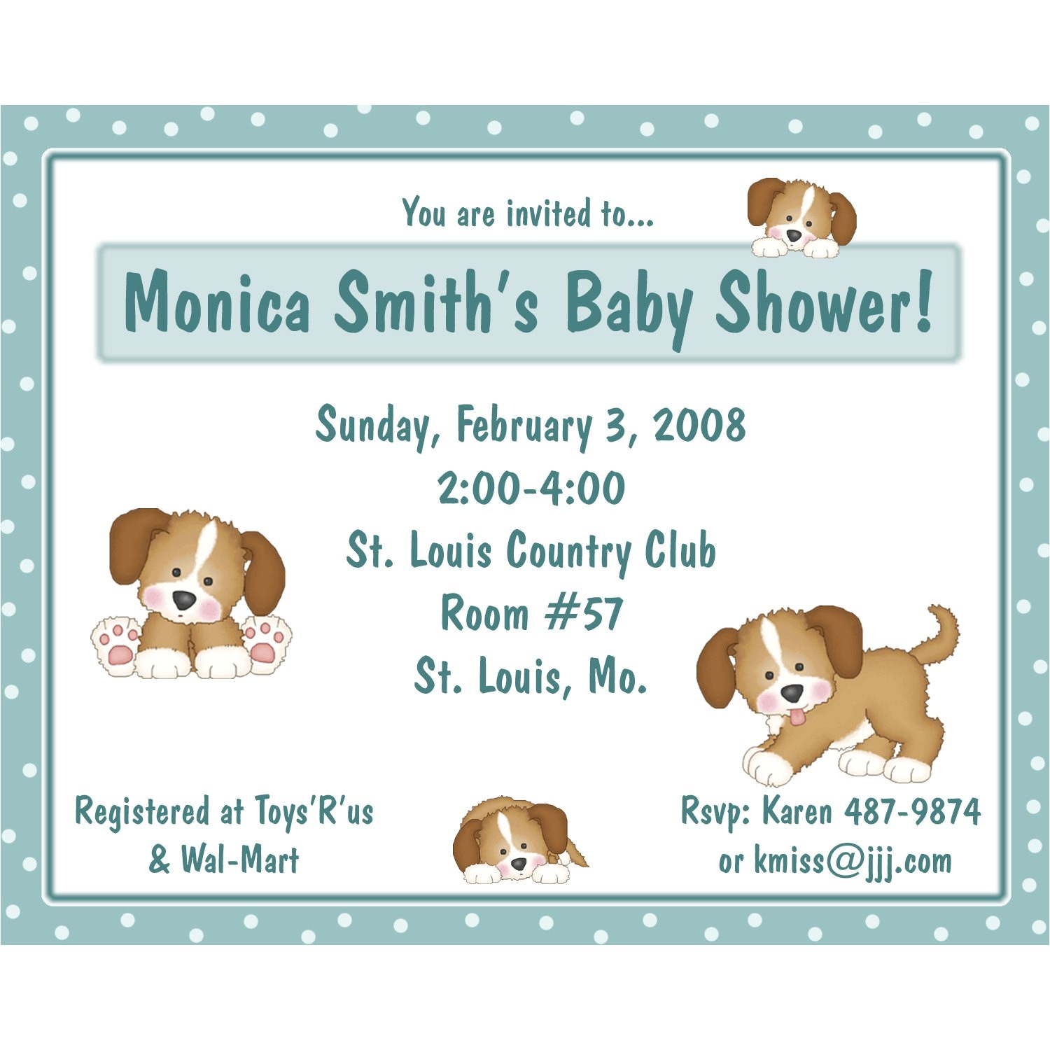 20 baby shower invitations puppy dog