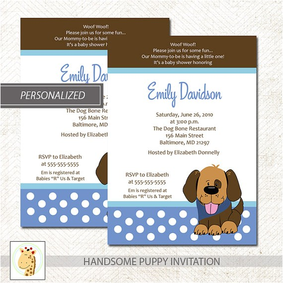 handsome brown puppy dog baby shower