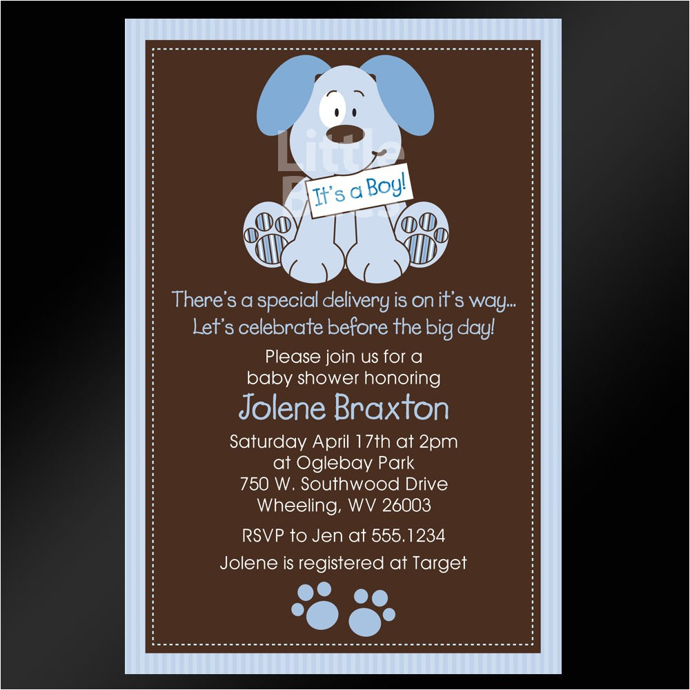 Puppy Dog Baby Shower Invitations Precious Puppy Dog Printable Baby Shower or Birthday