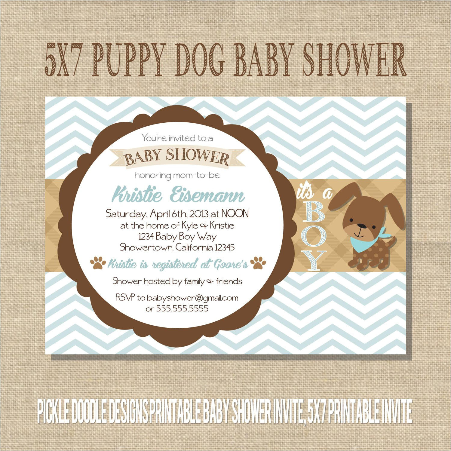 puppy dog baby boy shower invitation