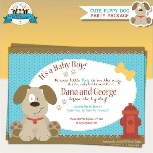 puppy dog baby shower invitations