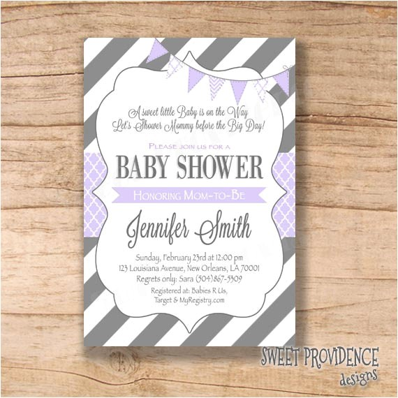 baby shower invitation purple grey baby