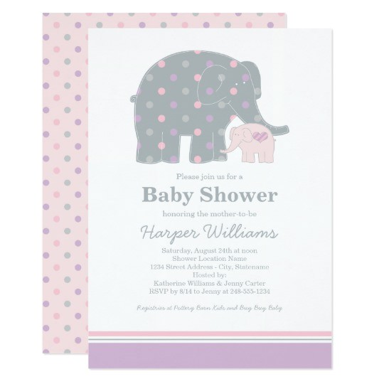 elephant baby shower invitation purple pink gray