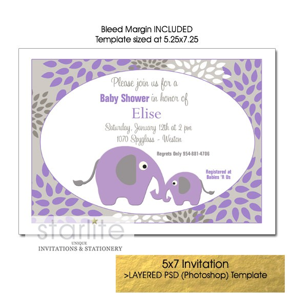 purple and gray baby shower invitation