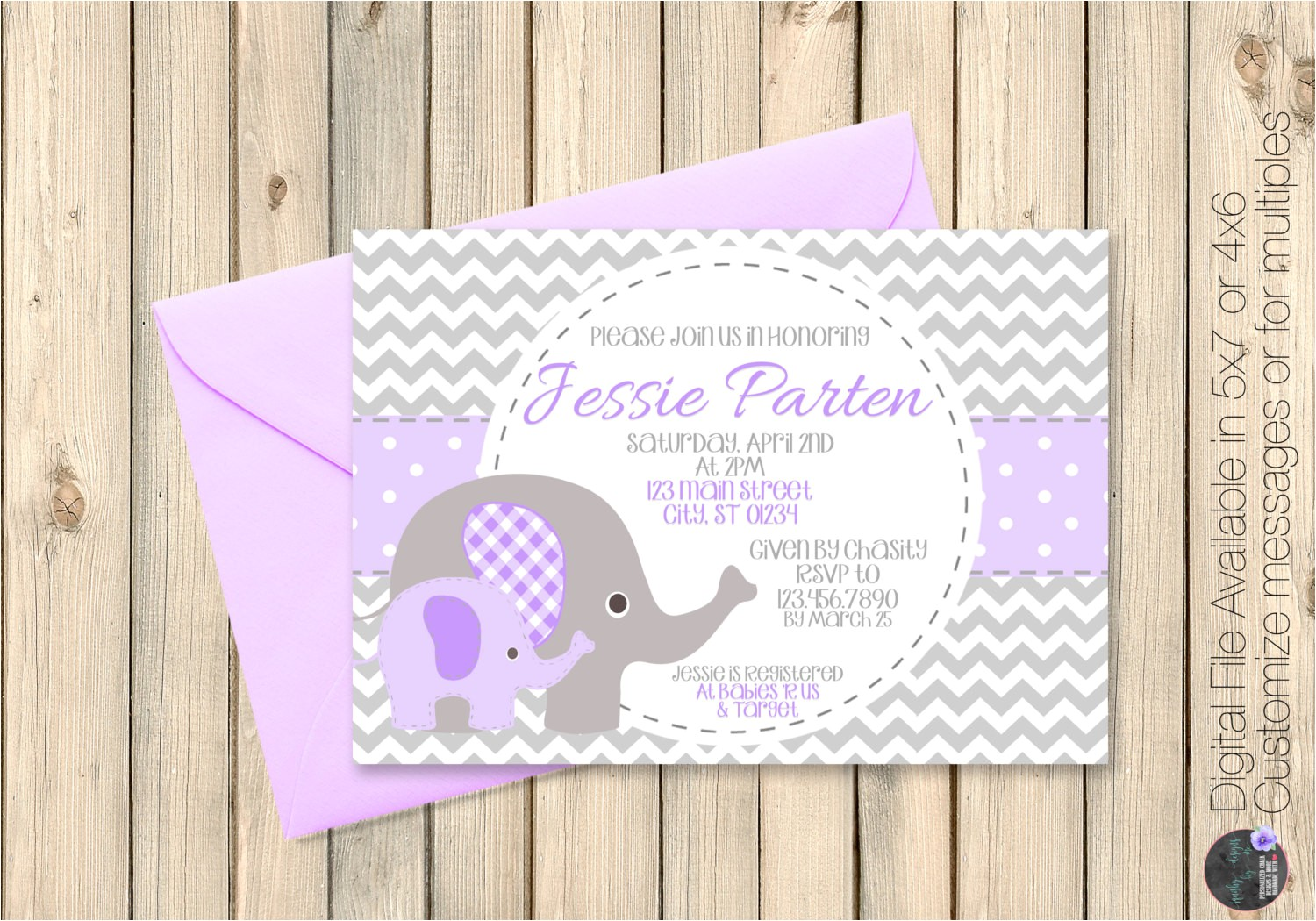 purple and grey baby shower invitations
