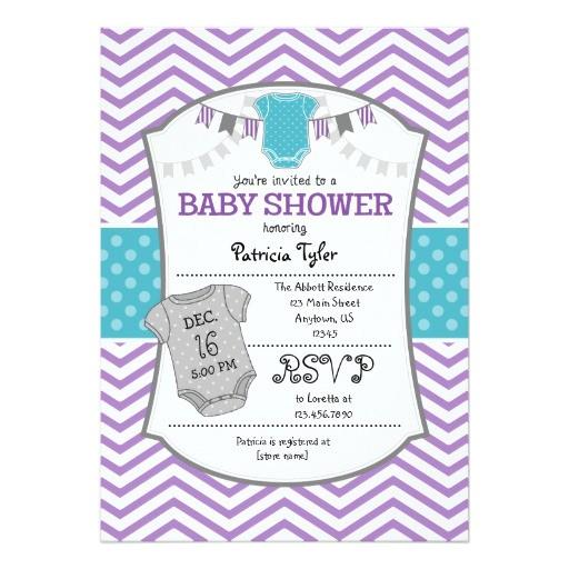 teal purple gray chevron baby shower invitation
