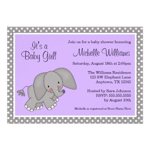 cute purple elephant girl baby shower invitations