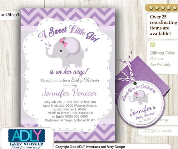 personalized purple elephant baby shower printable