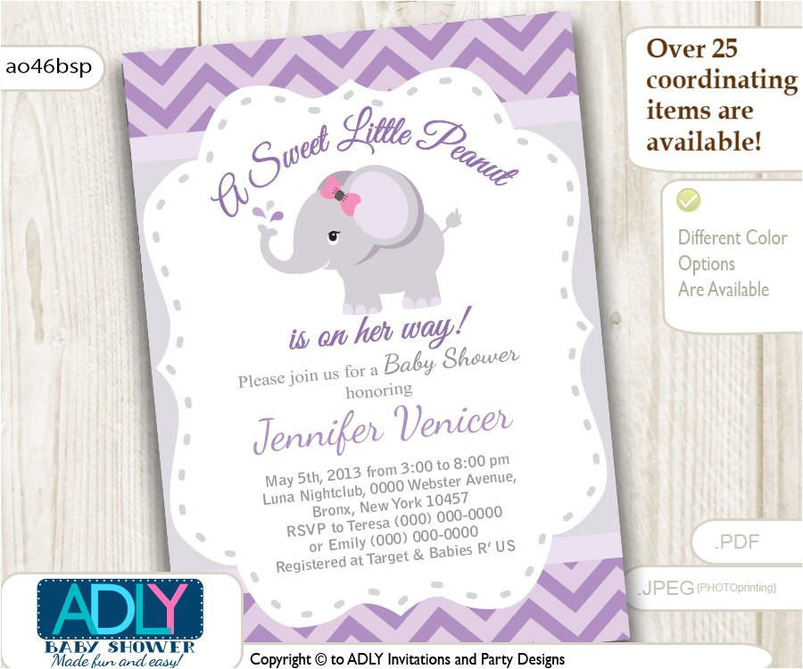 purple grey elephant invitation for baby