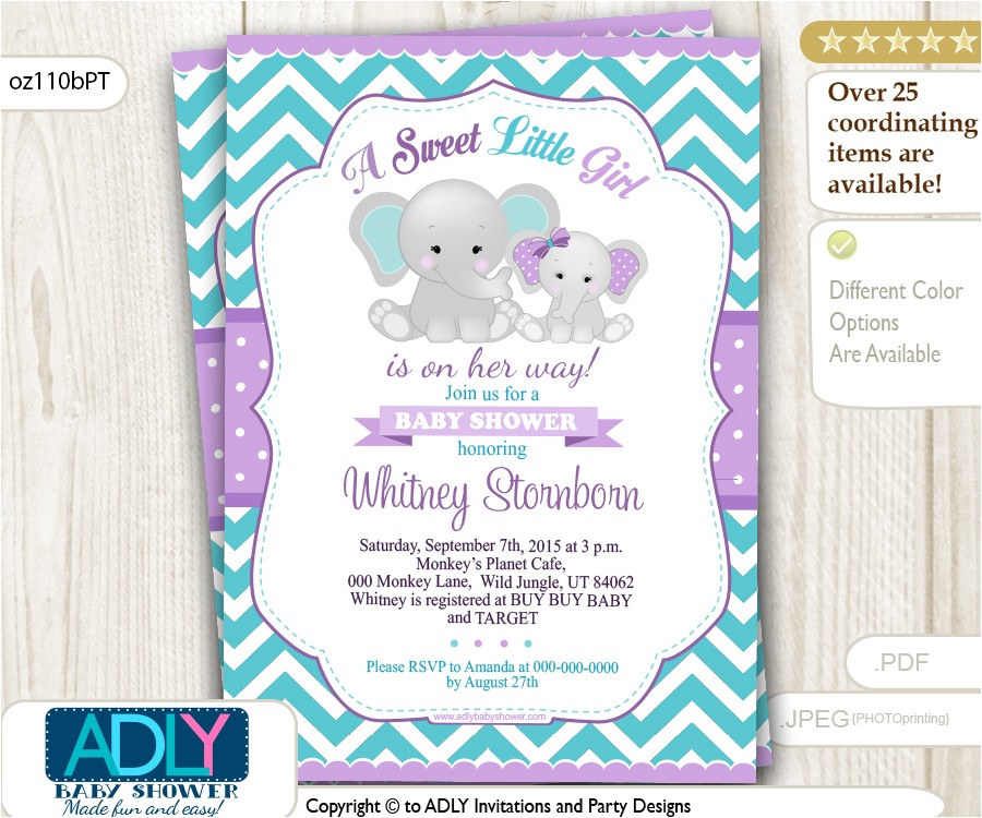 purple teal grey girl elephant and mommy baby shower invi