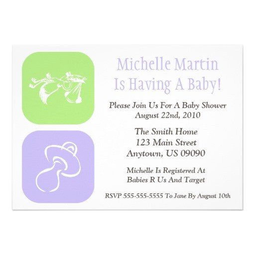 baby shower invitation stork pacifier green purple
