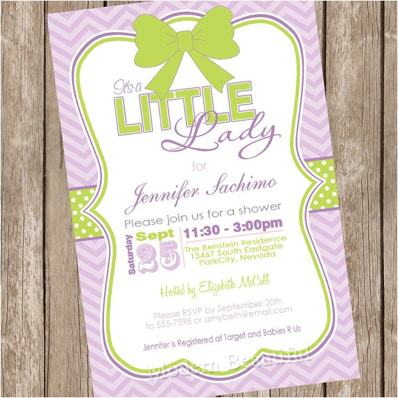 lady girl baby shower invitation green