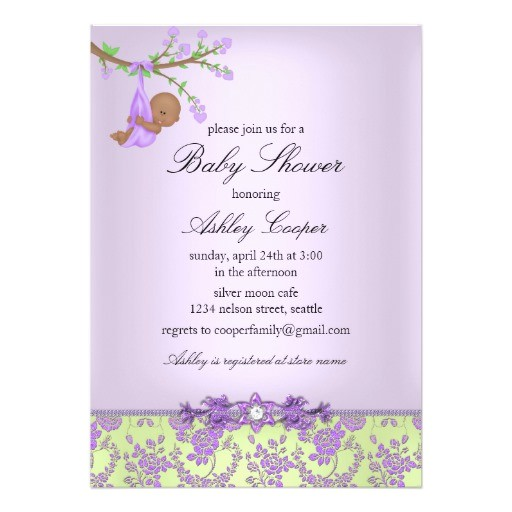 purple green rose garden baby shower invitation
