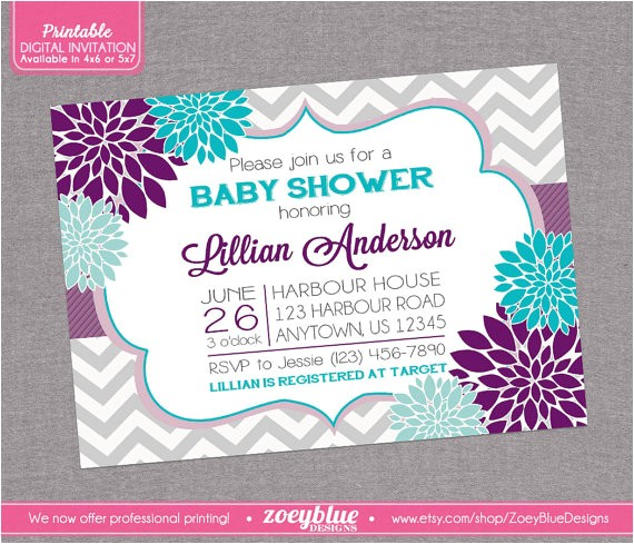 floral purple aqua blue baby shower