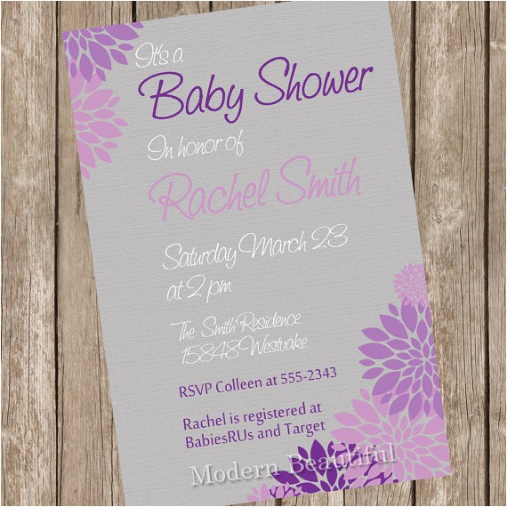 neutral baby shower invitation purple grey