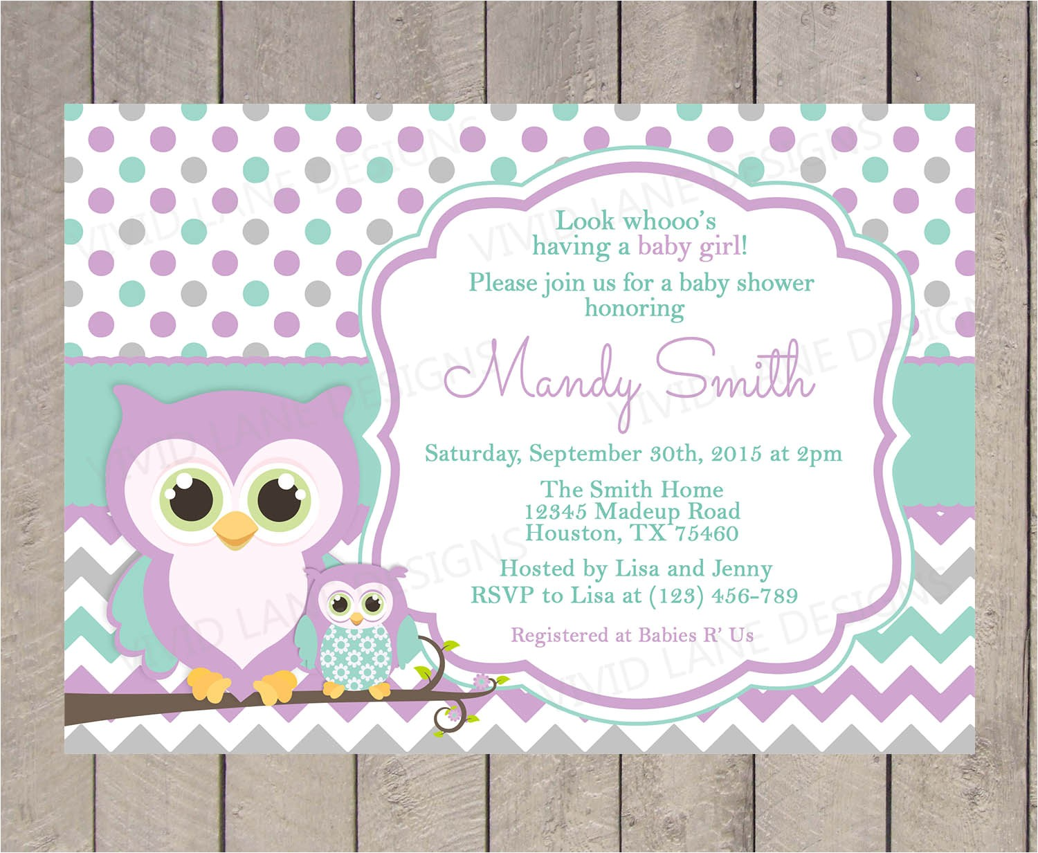 purple and grey baby shower invitation
