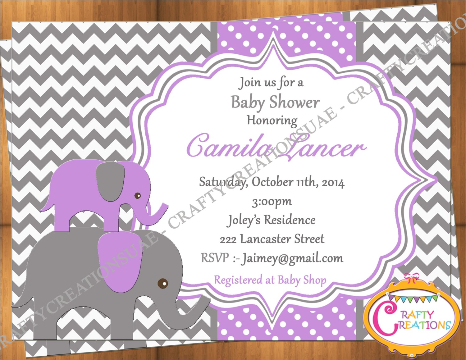 purple and grey elephant baby shower