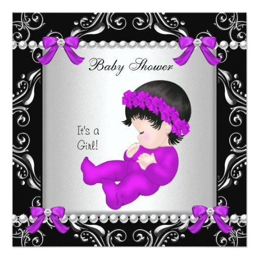 baby shower baby cute girl magenta purple silver invitation