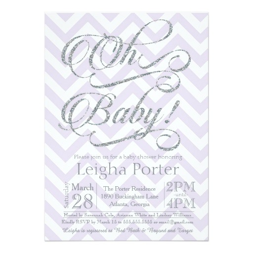 glitter baby shower invitation silver purple lilac