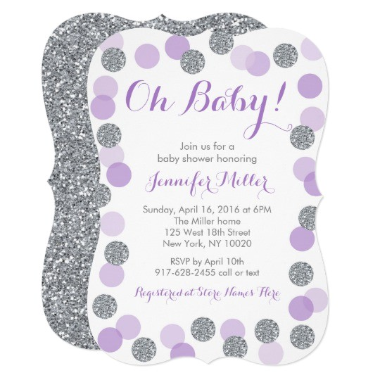 purple silver dot baby shower invitations