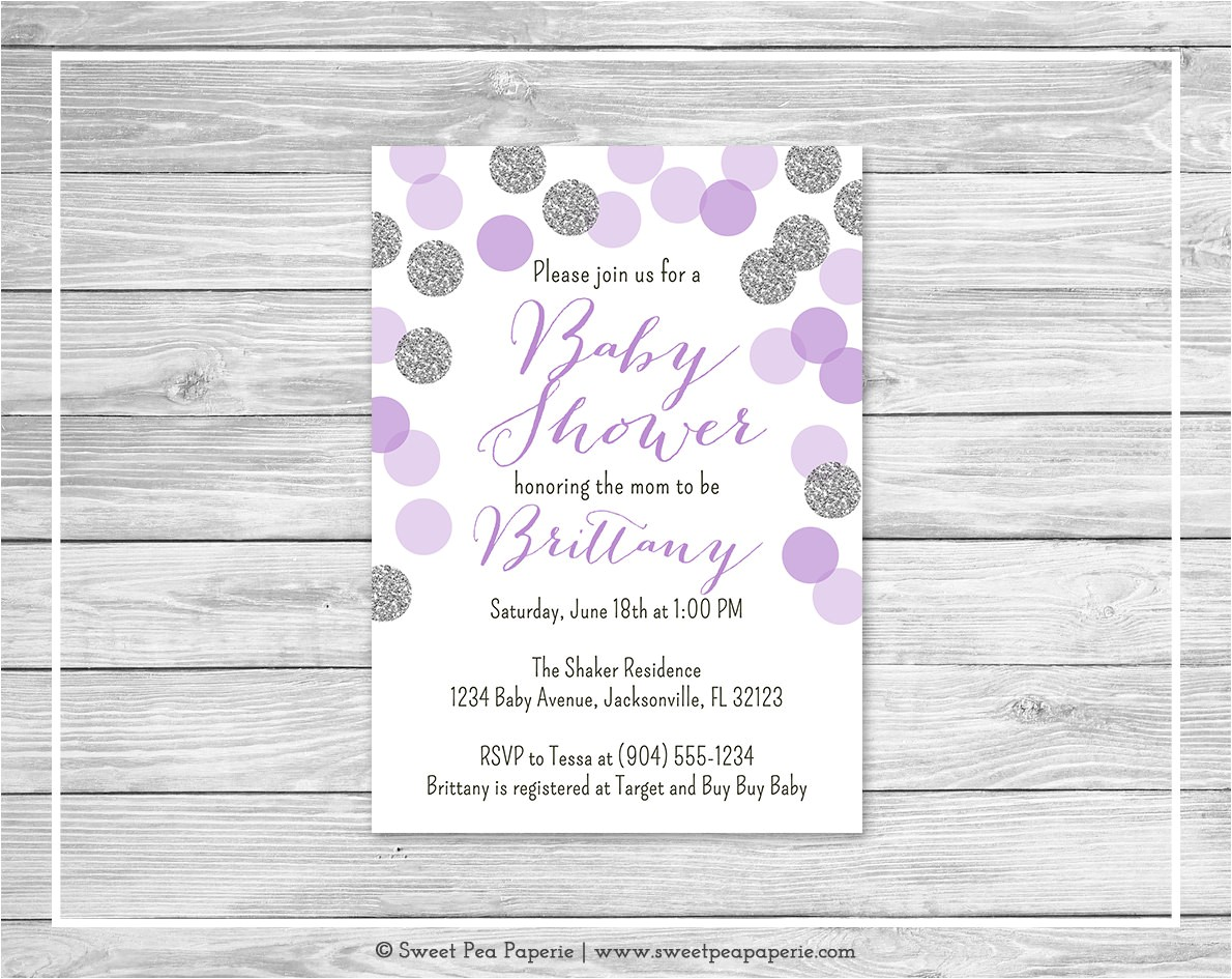 Purple and Silver Baby Shower Invitations Purple and Silver Baby Shower Invitation Printable Baby
