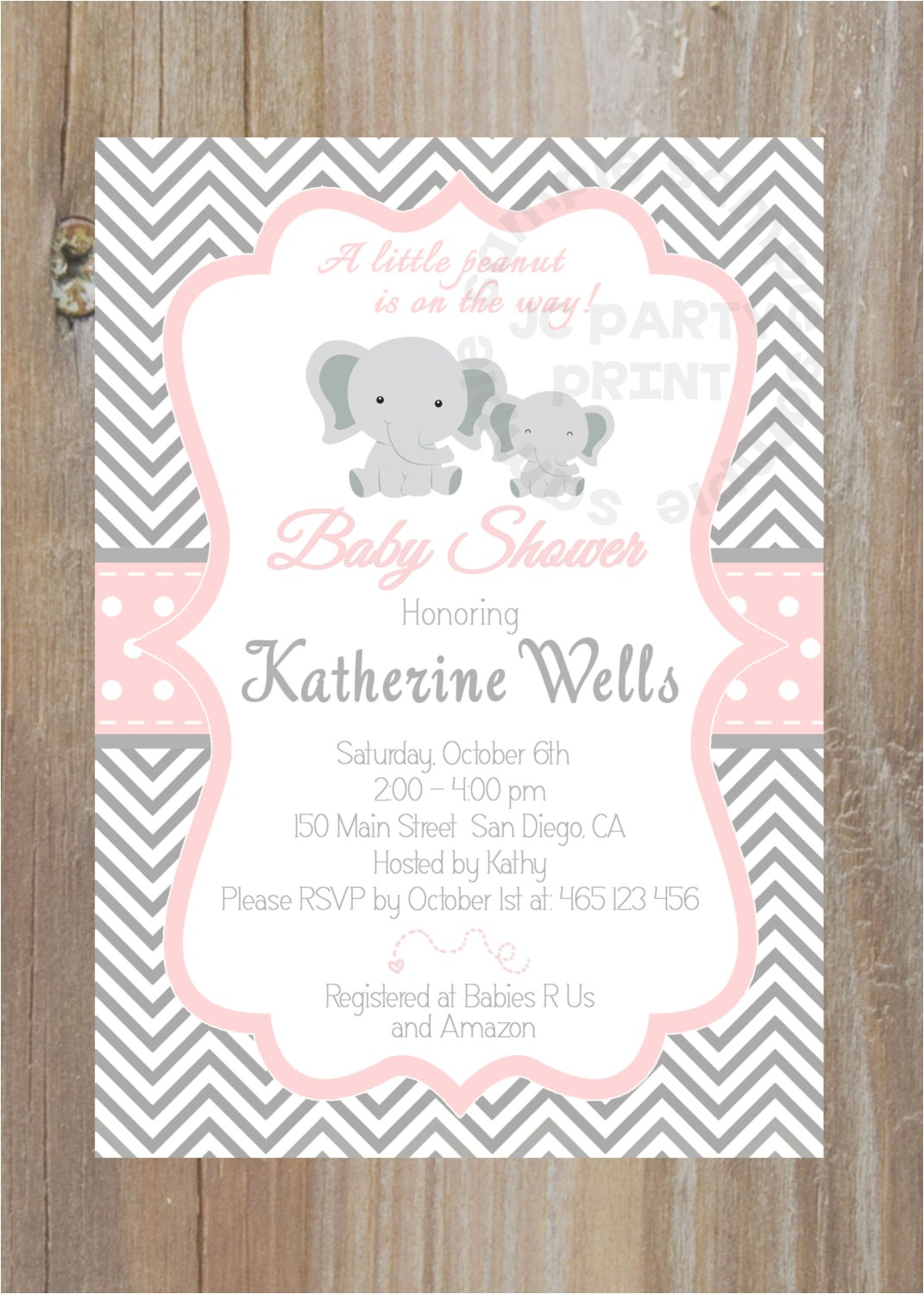 purple and silver baby shower invitation