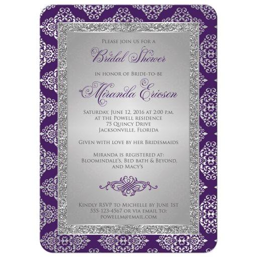 bridal shower invitation purple silver gray damask faux glitter scroll