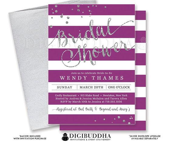 purple silver bridal shower invitation stripes