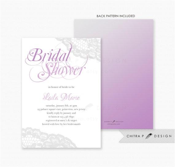 purple silver bridal shower invitations